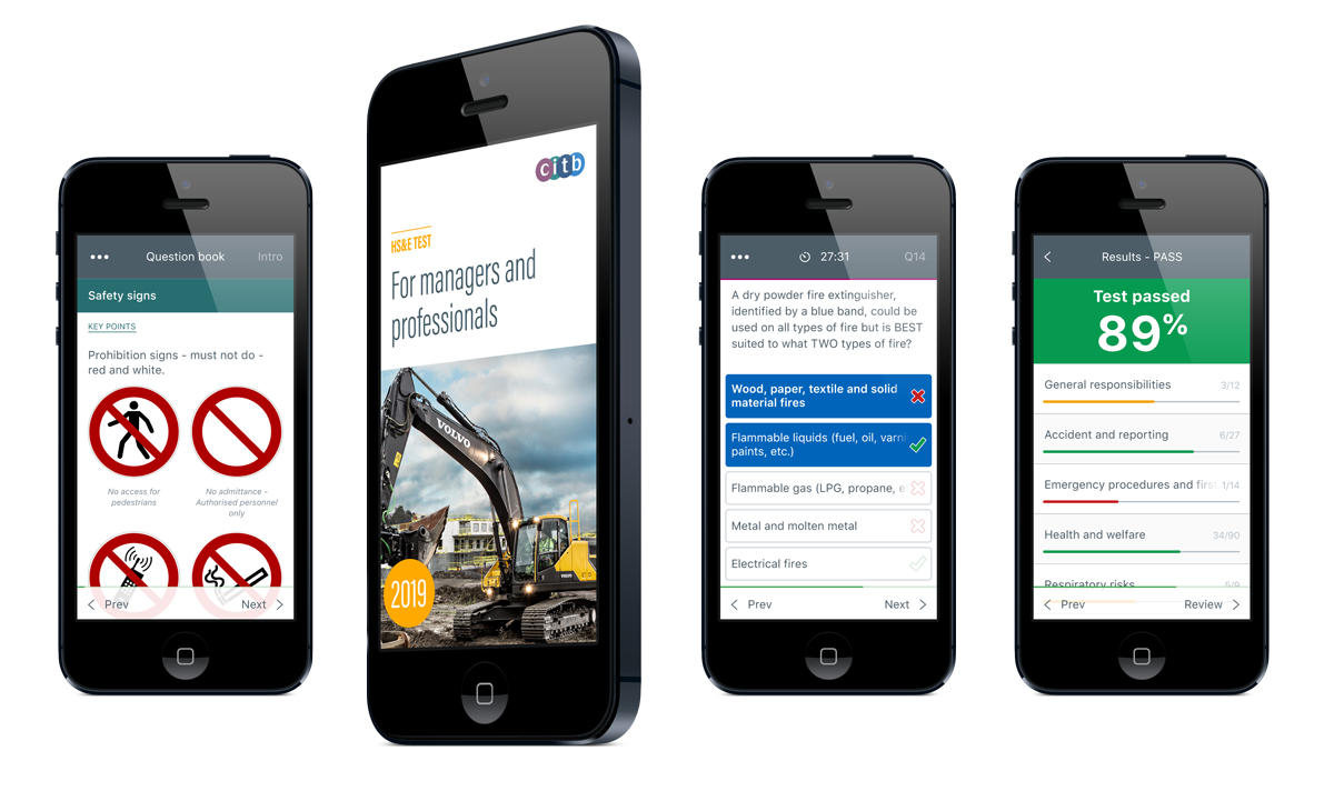 CITB HS&E Test for Managers and professionals mobile app for iOS and Android devices