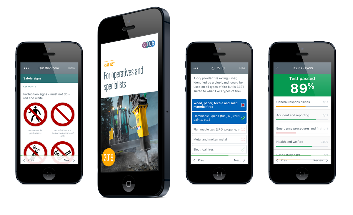 CITB HS&E Test for Operatives and specialists mobile app for iOS and Android devices
